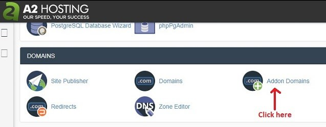 add domain name cpanel a2hosting