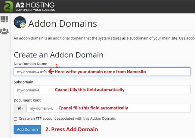 domain name a2hosting addon domains