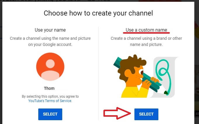 how to make youtube channel get started use a custom name.