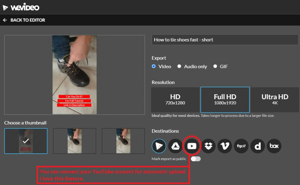 youtube channel create short video with wevideo ready to download