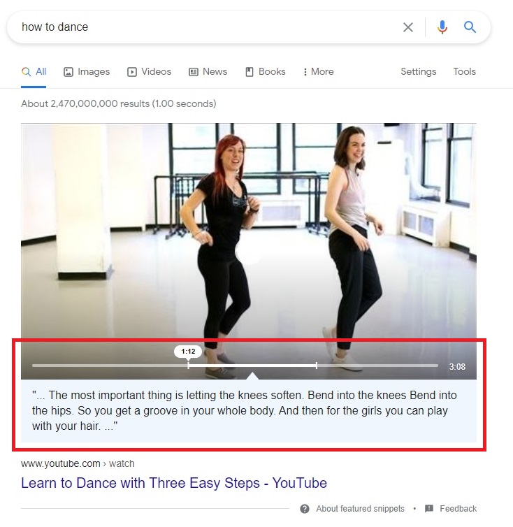 youtube channel example youtube video how featured snippets are working