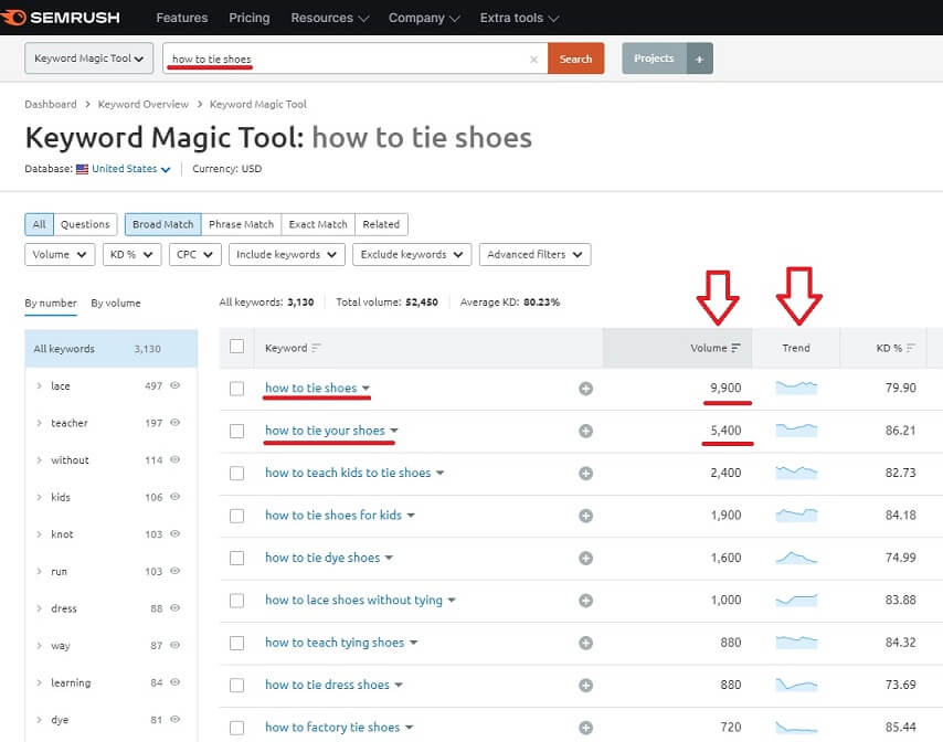 youtube channel niche overview using semrush tool