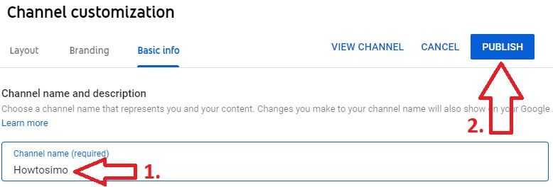 youtube channel studio customization page edit channel name and publish