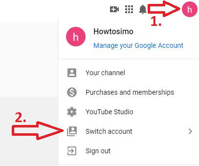 youtube channel switch to another account