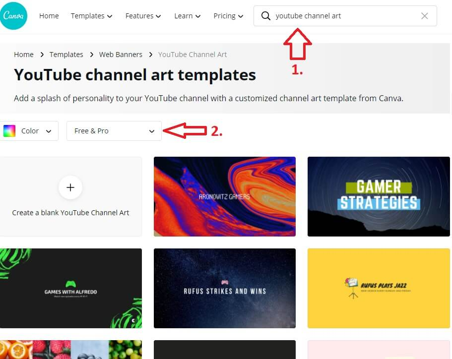 youtube channel channel banner canva