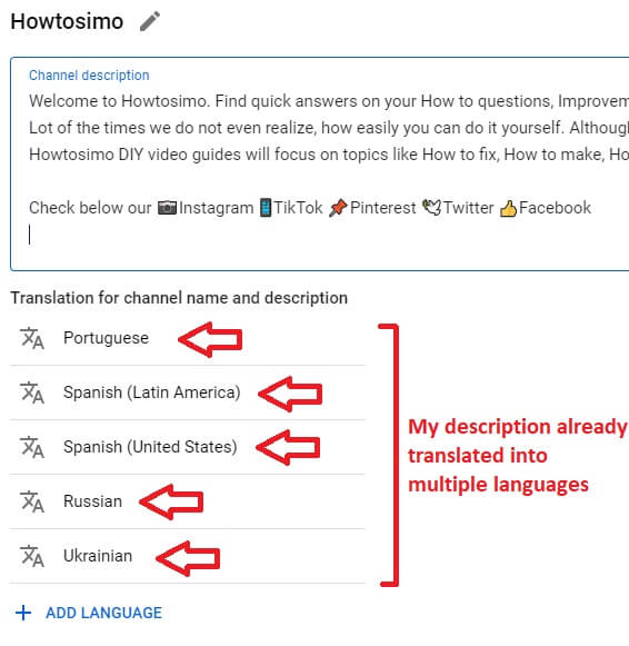 youtube channel adding channel translation into multiple languages