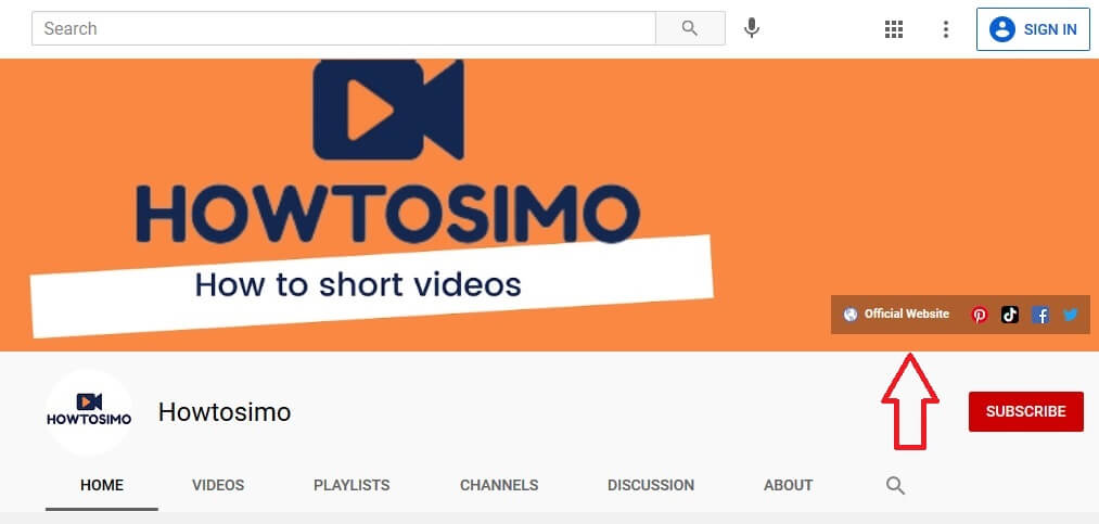 youtube channel homepage with hyperlinks in channel banner