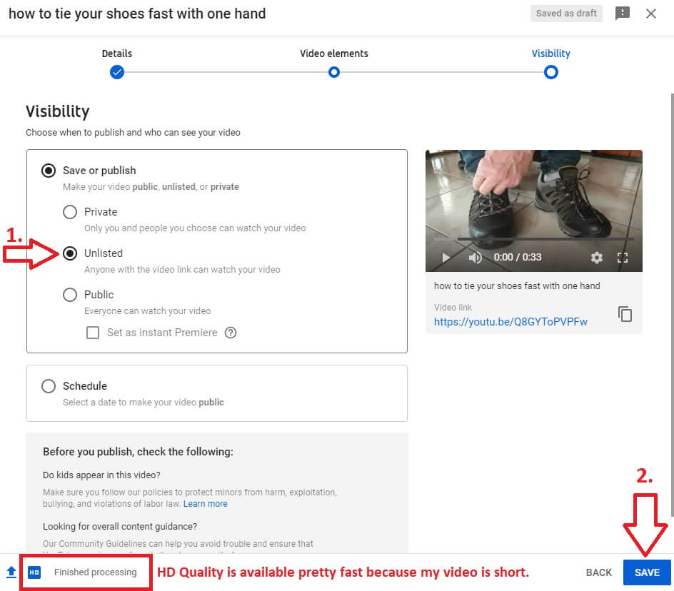 youtube channel studio pop-up uploading video visibility tab