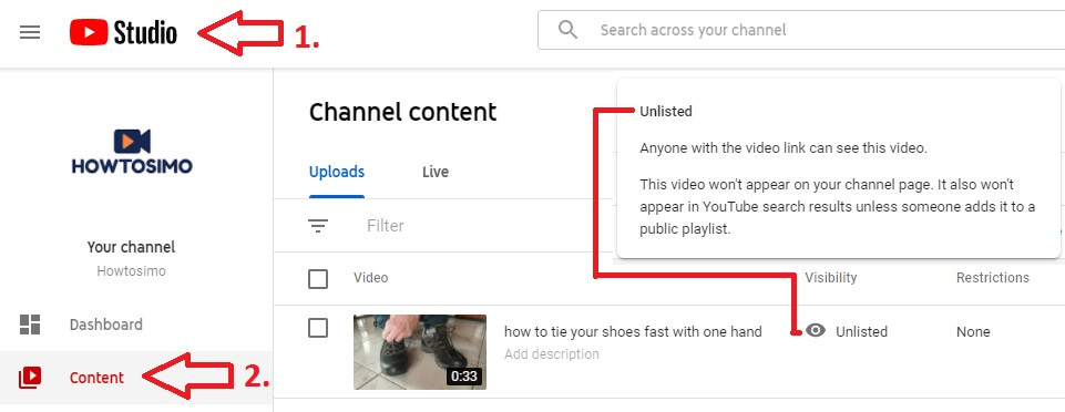 youtube channel studio uploaded videos content tab