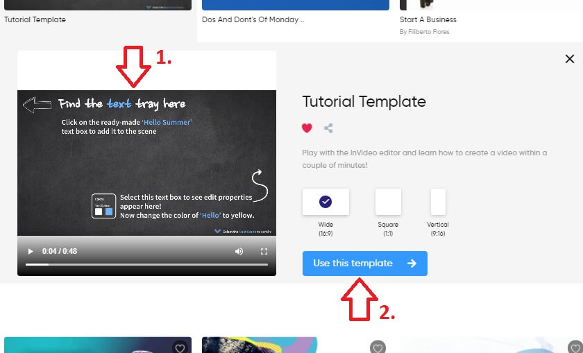 youtube channel how to make video using invideo template preview