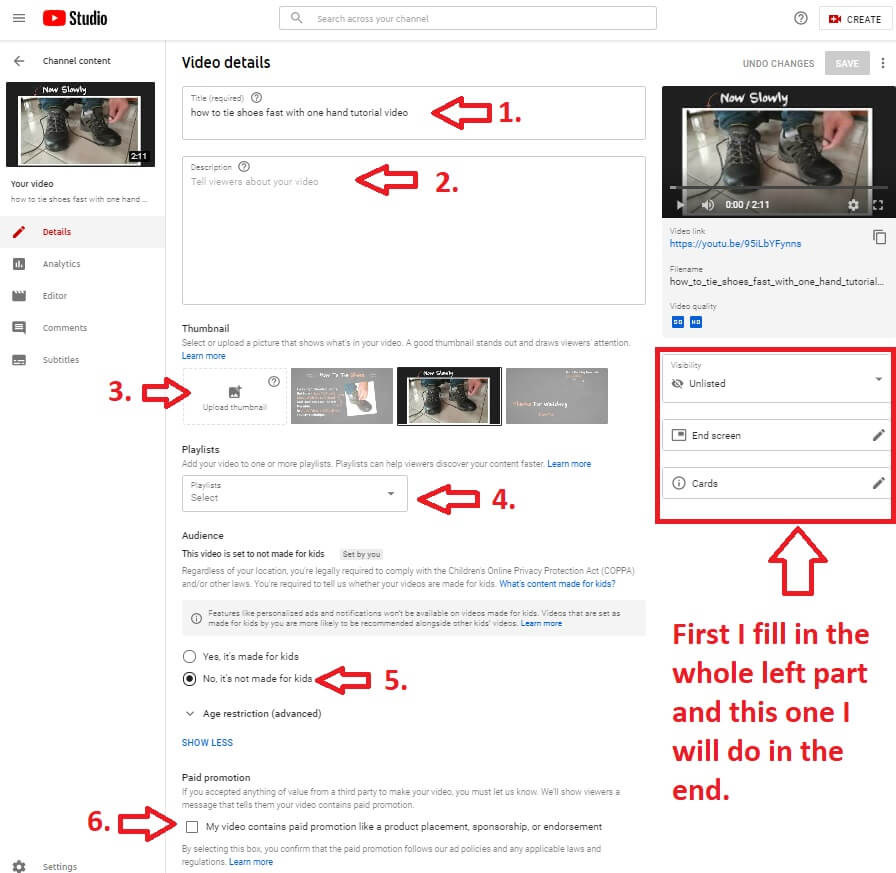 youtube channel video details editing