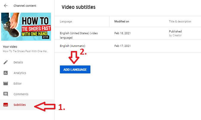 youtube channel video details adding languages and subtitles