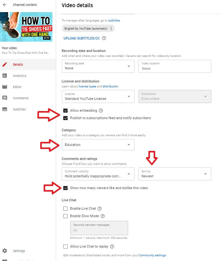 youtube channel video details adding category allow embedding license