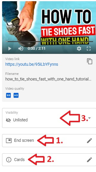 youtube channel video last steps end screen cards visibility